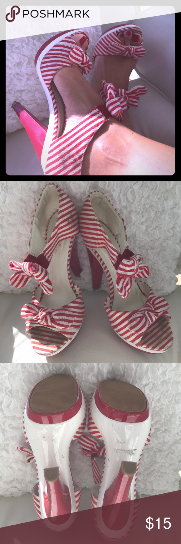 Stripes shoes Nice cloth stripe shoes, white and red. Used with some spots Charlotte Russe Shoes Heels