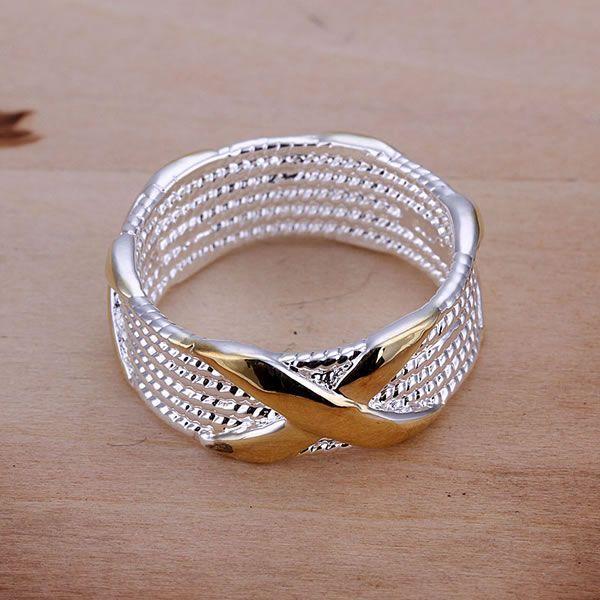 0a13d55e6b52 Envío gratis 925 anillo de plata fina moda separación de colores joyería de plata  X anillo de Women   Men regalo anillos de dedo SMTR013 en An…