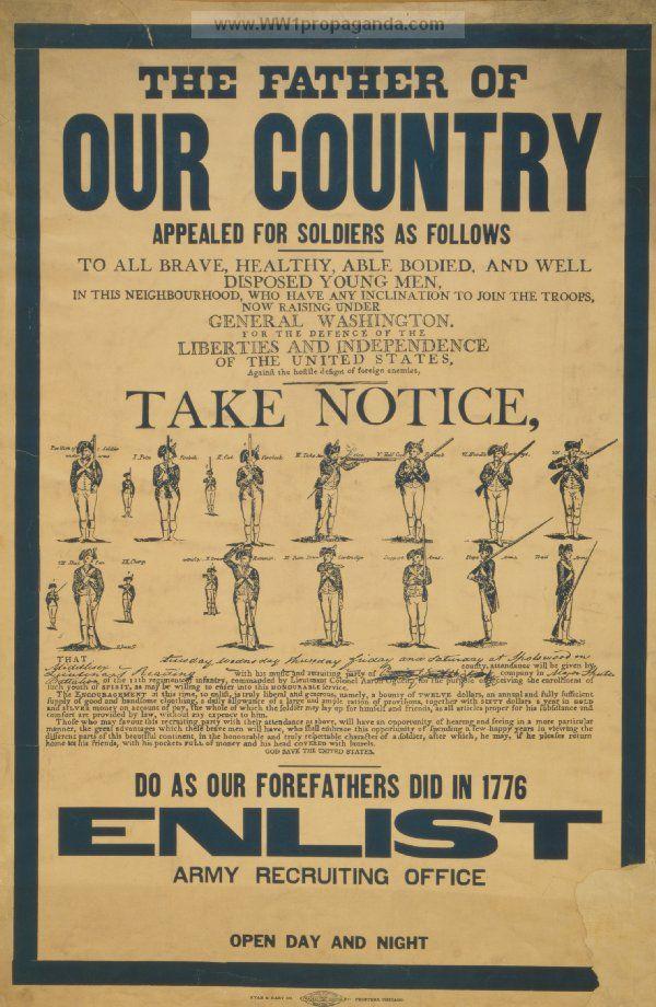 Revolutionary War Recruiting Poster American Ww1