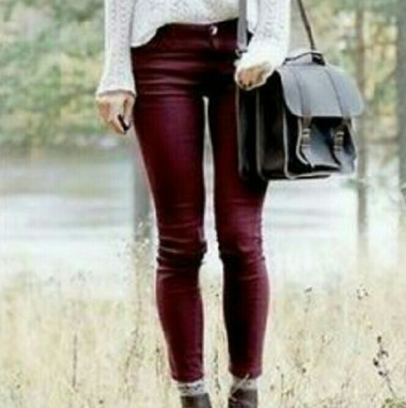 NWT Deep burgundy jeggings Super soft NWT S.O brand jeggings. High rise and skinny legged. Very stretchy and comfortable material. Model photo's were used as I do not have good enough lighting to capture the color and to give styling ideas. Photo creds: first photo: fearlessandmagical.com Last photo: glamradar.com S.O Pants Skinny