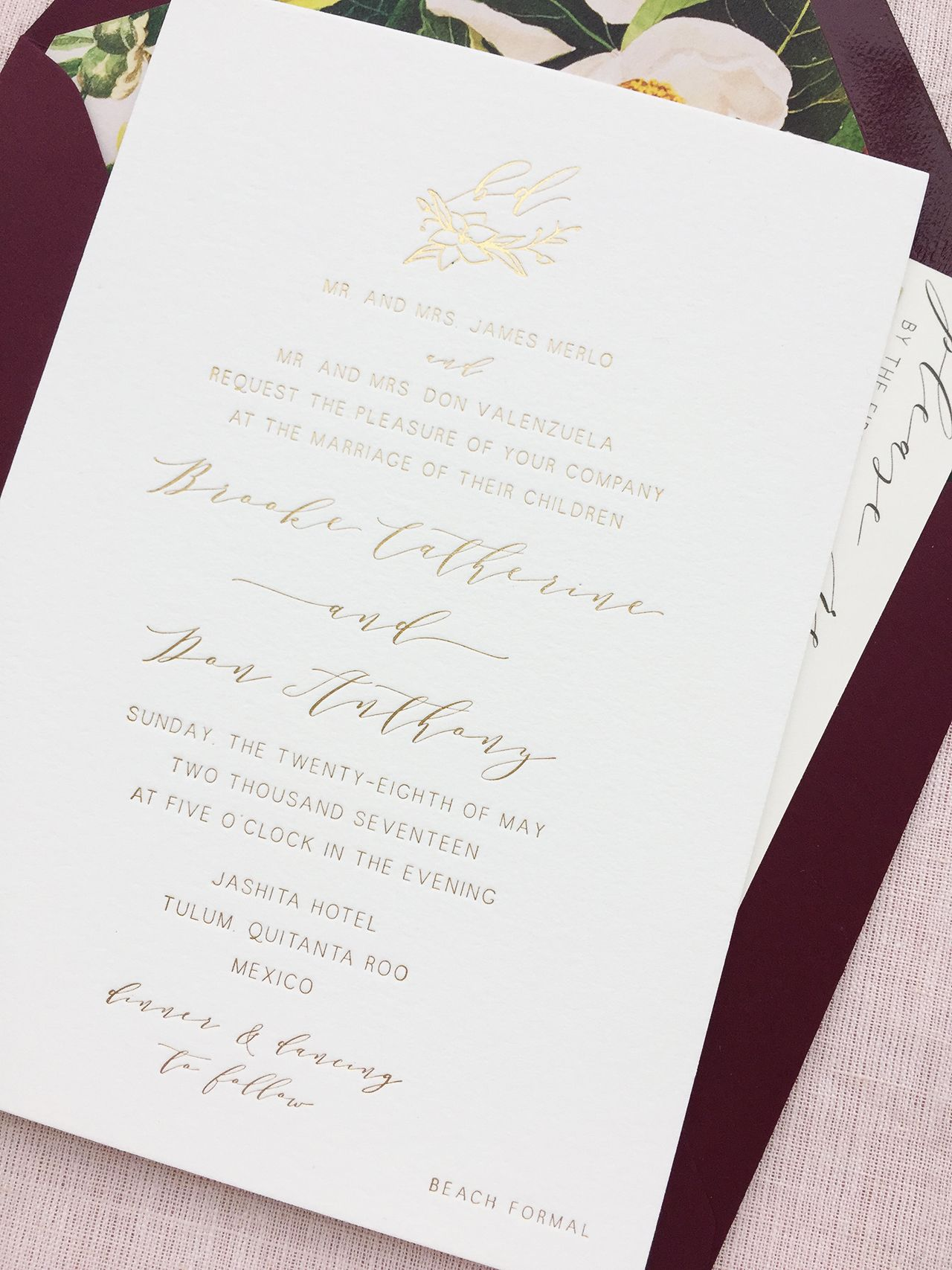 Romantic Burgundy And Gold Foil Wedding Invitations With Floral Envelope Liner By Charm Fig