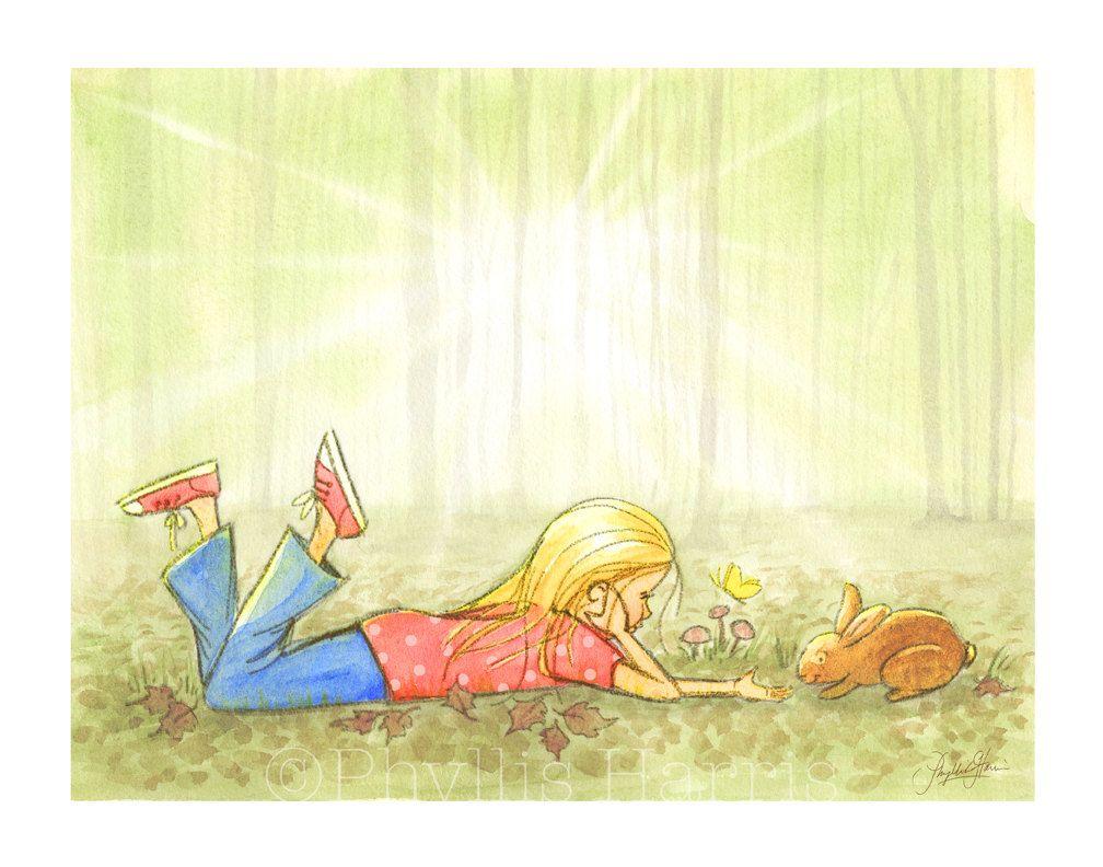 Children\'s Wall Art Illustration - Little girl in the woods - Expect ...