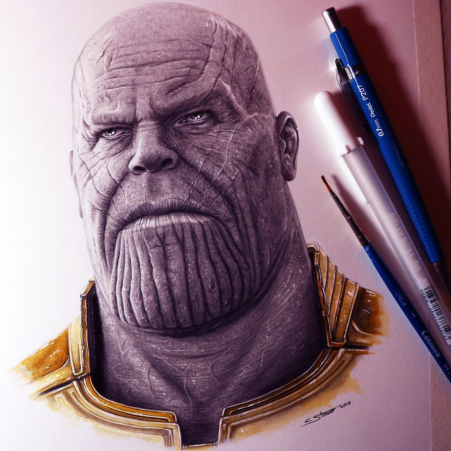 Thanos From Avengers Infinity War Drawing By Lethalchris Avengers Drawings Photorealistic Drawings Marvel Drawings