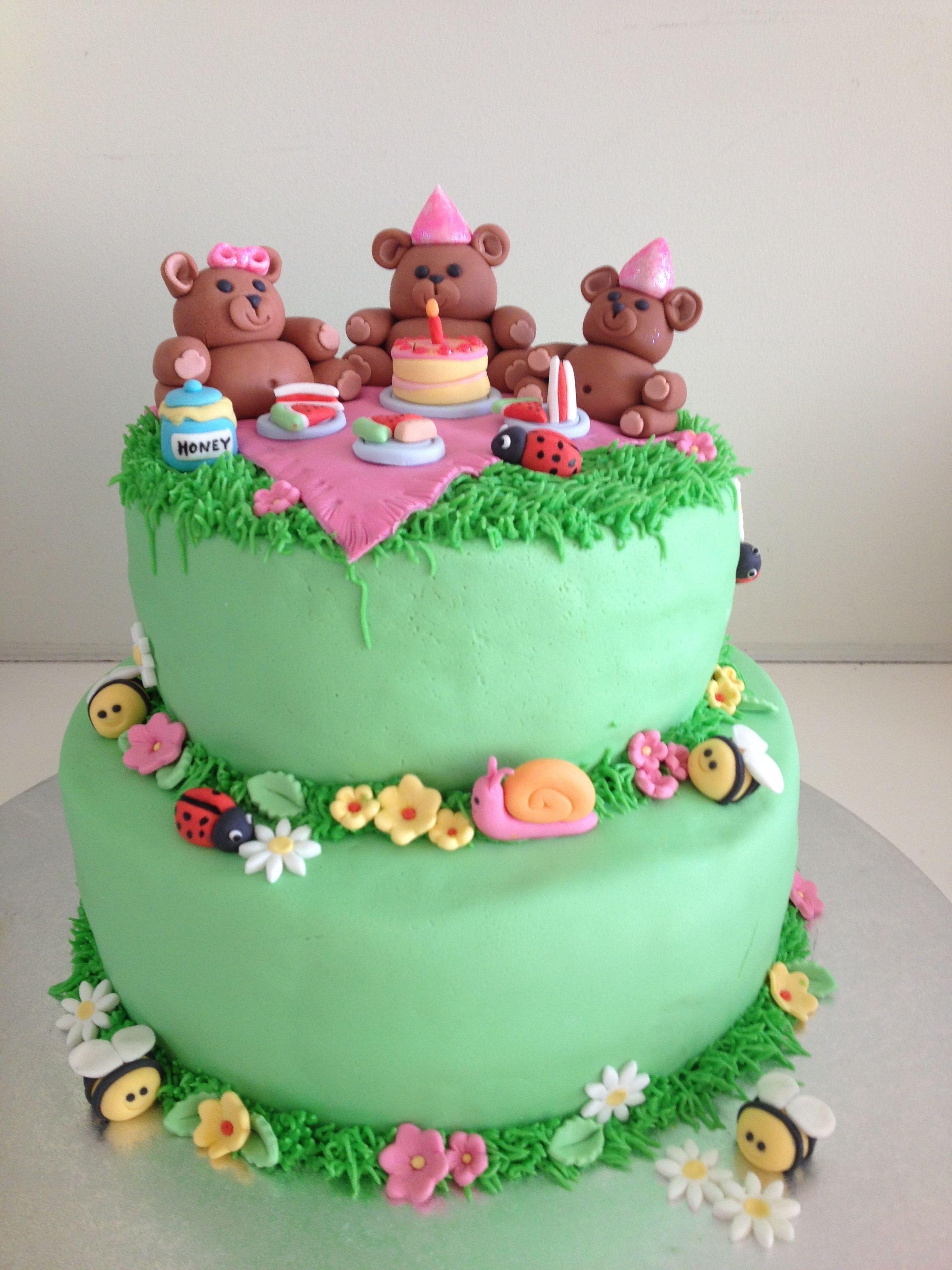 Teddy Bears Picnic Cake Teddybearspicnic Kids Birthday And - Bear birthday cake