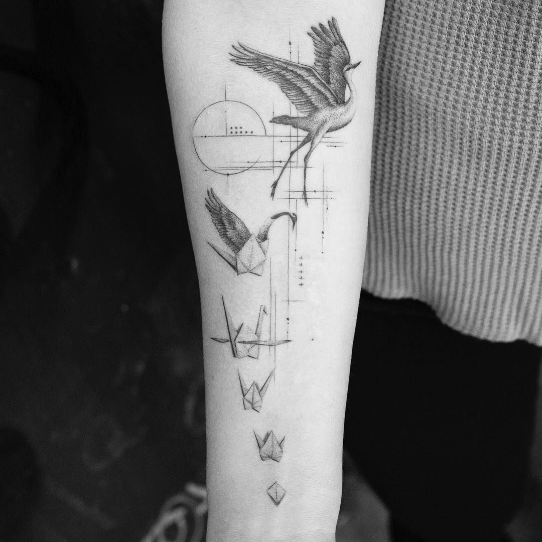 Trust The Process Paper Crane Tattoo Origami Crane Tattoo Grey Tattoo Black And Grey Tattoos