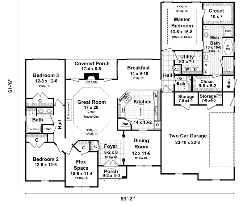 Ranch style house plans with basements ranch house plans for One floor house plans with basement