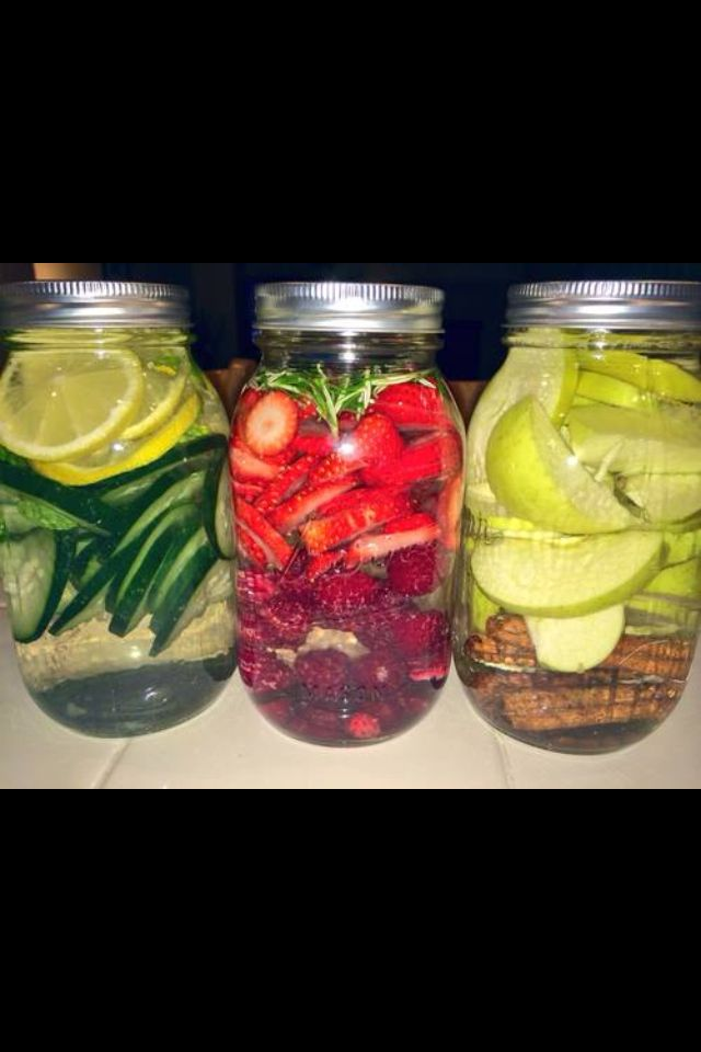 Ingredients include lemon, cucumber, mint, rosemary, raspberries, apple, and cinnamon sticks. To infuse your water, just add the  fruit and other ingredients to your jar or glass and then add in filtered water. Let it sit in the fridge for 24-48 hours before drinking (it makes the flavor stronger). Pro tip: cinnamon sticks and honey infused water, ftw!!
