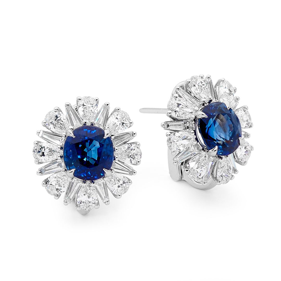 Blue Sapphire And Diamond Earrings Gorgeous Round Diamond Earrings Jewelry Diamond Jewelry Necklace