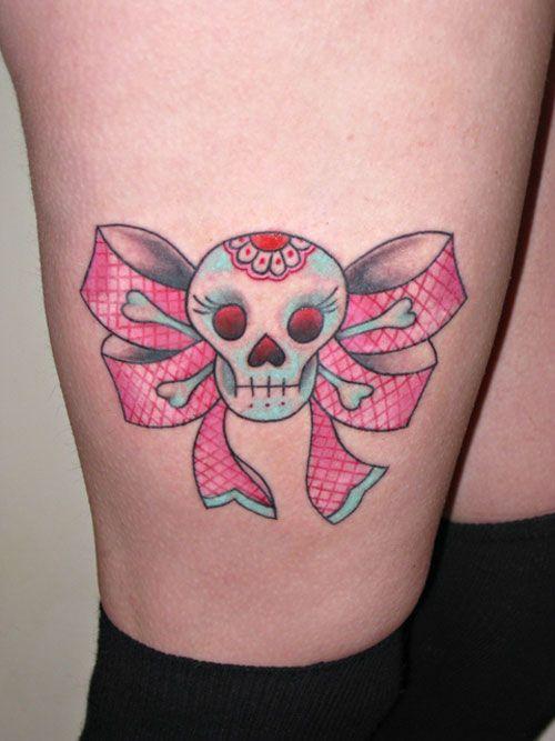 Cute skull tattoo tattoo love pinterest tattoo for Pretty skull tattoos