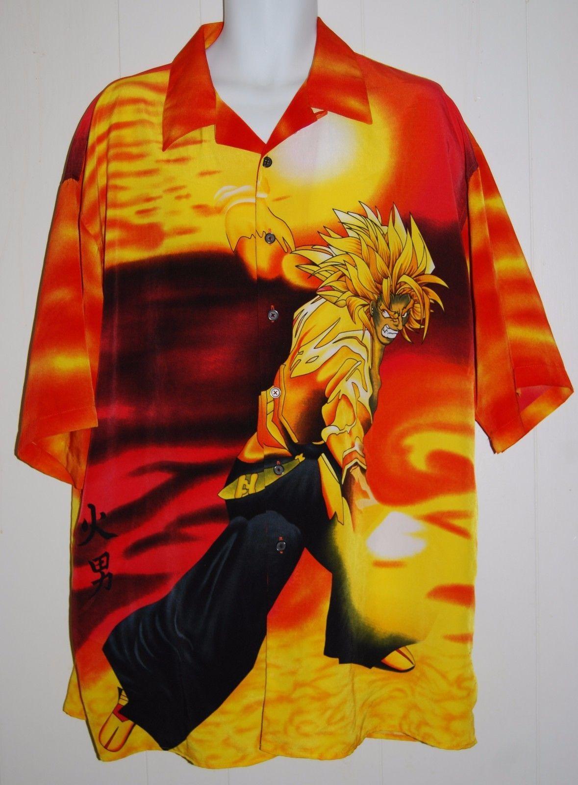 dragon ball z anime men s short sleeve camp shirt 2 xl anime