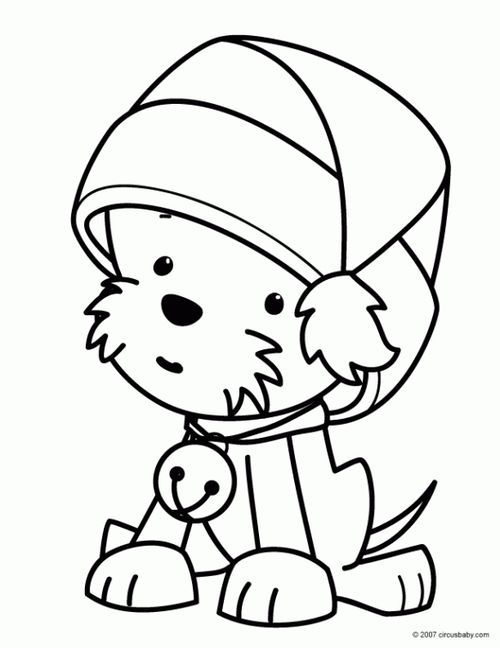A Cute Kawaii Puppy Wearing Christmas Hat Coloring Page