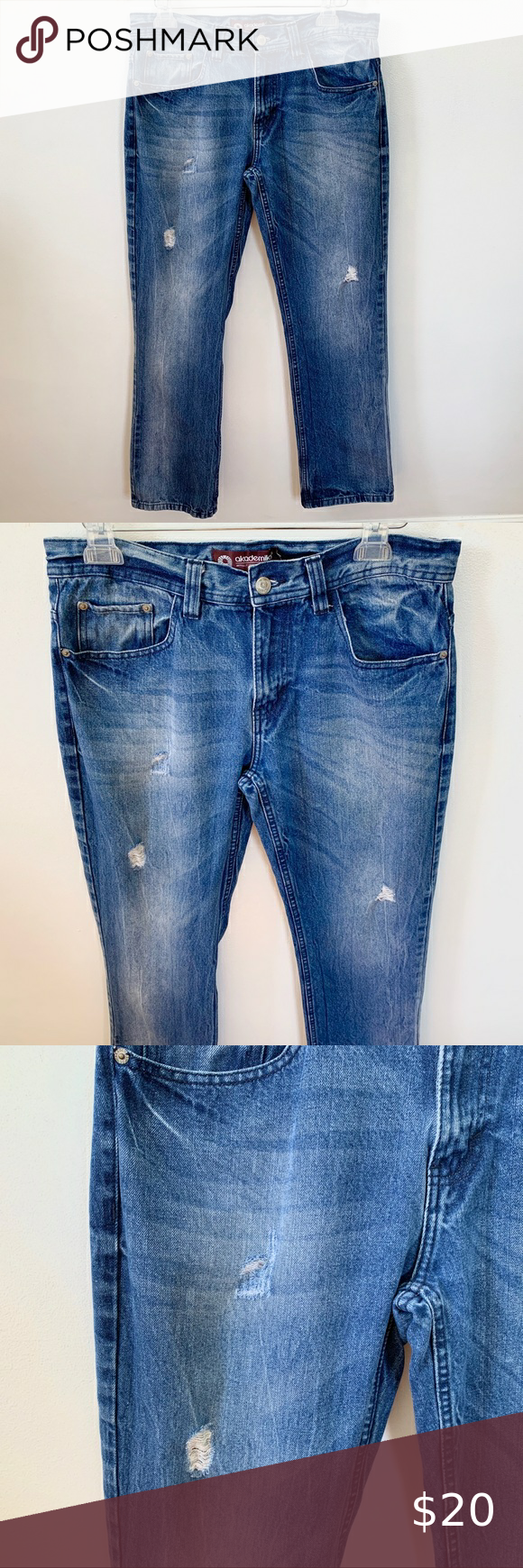 Akademiks Destressed Ripped Straight Leg Jeans Excellent used condition. Akademiks Jeans Straight