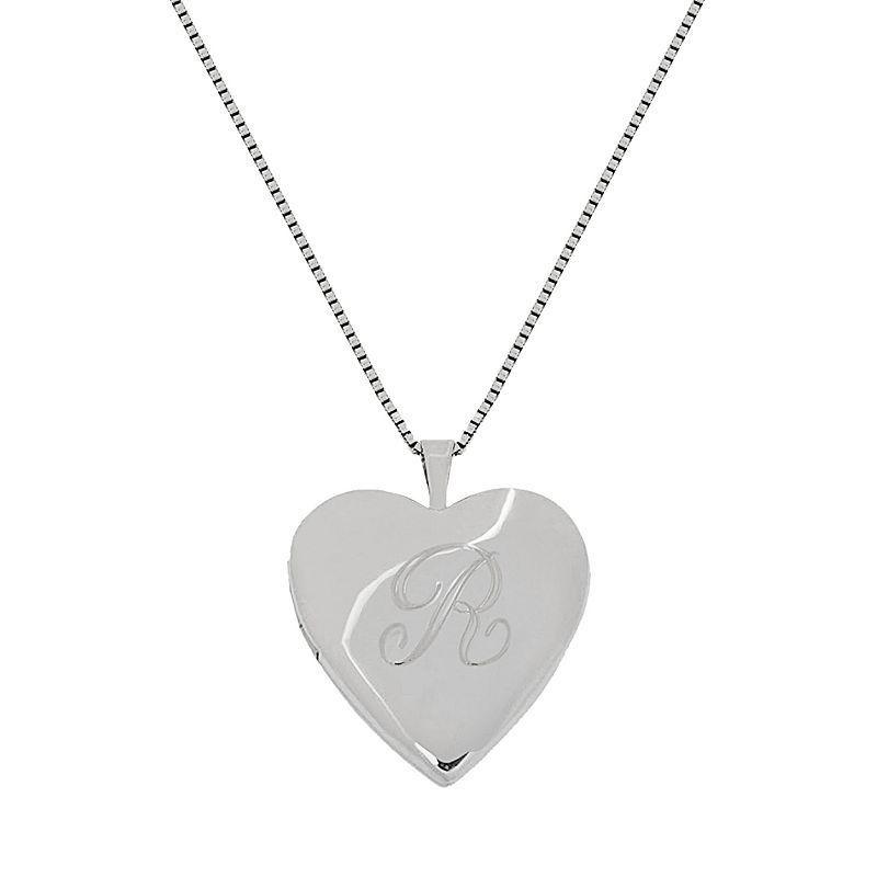 """Sterling Silver Initial Heart Locket, Women's, Size: 18"""", Grey"""