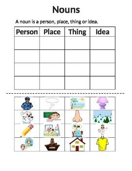 Cut and Paste Nouns - Person, Place, Thing or Idea ...