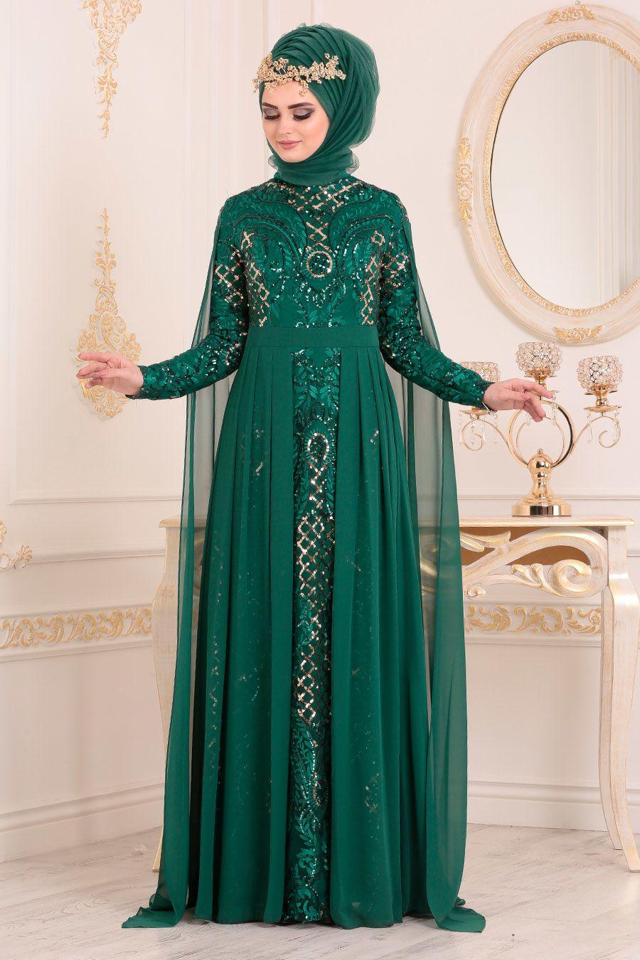 Tesetturlu Abiye Elbise Pul Payetli Yesil Tesettur Abiye Elbise 85130y Tesetturisland Com The Dress Aksamustu Giysileri Siyah Abiye