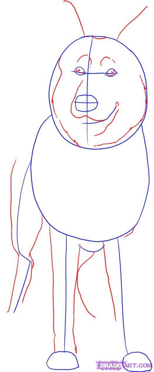 How do you draw a German Shepherd?