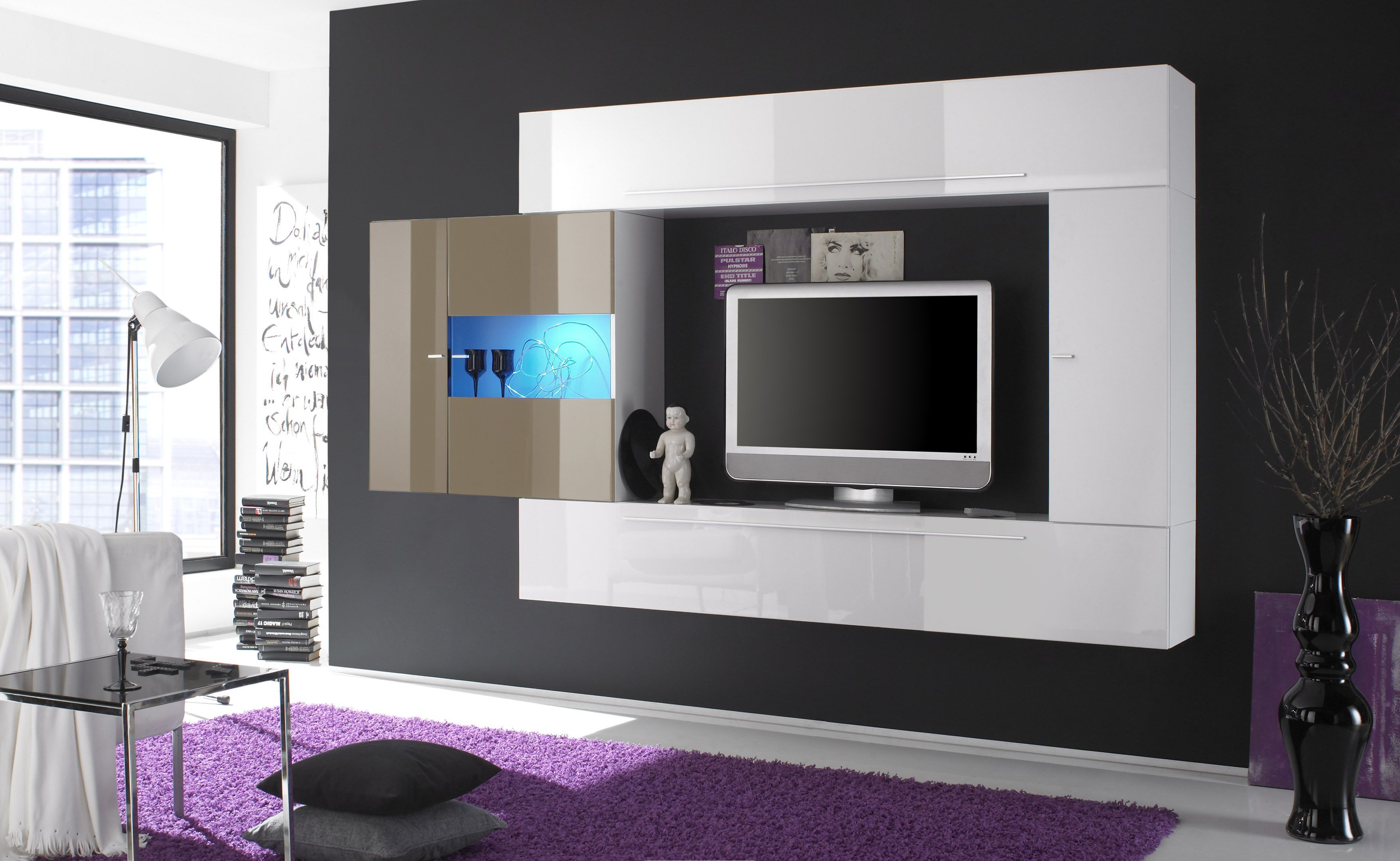 Handsome black living room design flat lcd tv decoration and cute purple carpet area also beside - Purple and black living room ideas ...