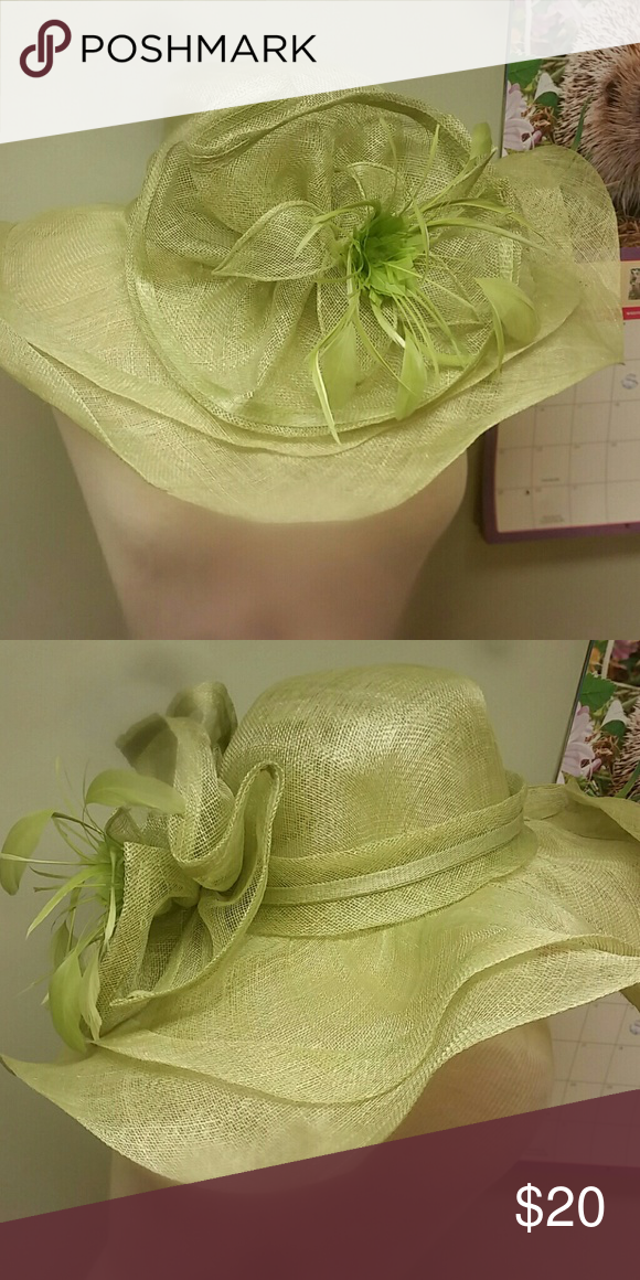 Church/Derby hat Light green, feather flower. c.c exclusives Accessories Hats