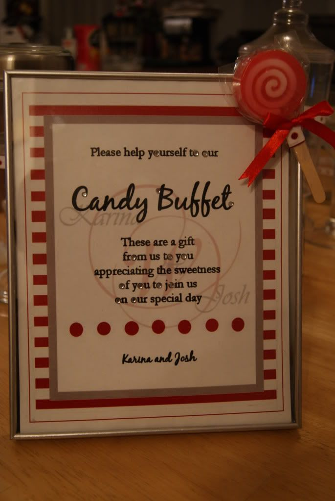 Wedding Reception Candy Buffet Table Labels Diy Karina And Josh S Biography Project