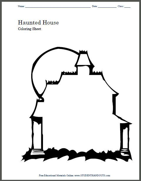 Free Printable Haunted House Coloring Pages For Kids | 614x479