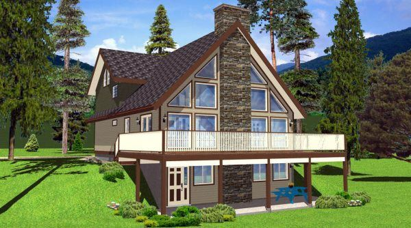 Traditional Style House Plan 99961 With 3 Bed 2 Bath A Frame House Plans Sloping Lot House Plan A Frame House
