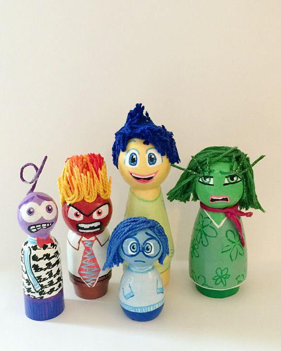 Handmade Inside Out Peg Dolls, Inside Out, Pixar, Disney