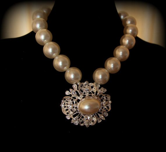 Statement pearl and crystal necklace from Pearl by LarisaBoutique