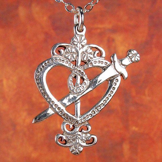 ERZULIE DANTOR Veve - STERLING Voodoo Veve Pendant Charm † #covet #jewelry #jewellery #symbols #symbology #pendant #voodoo #charm #silver #magic #talisman #ErzulieDantor