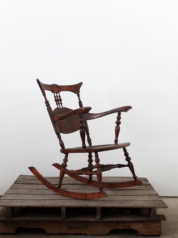 Antique Rocking Chair With Tooled Leather Seat Via 86home On Etsy, 350.00