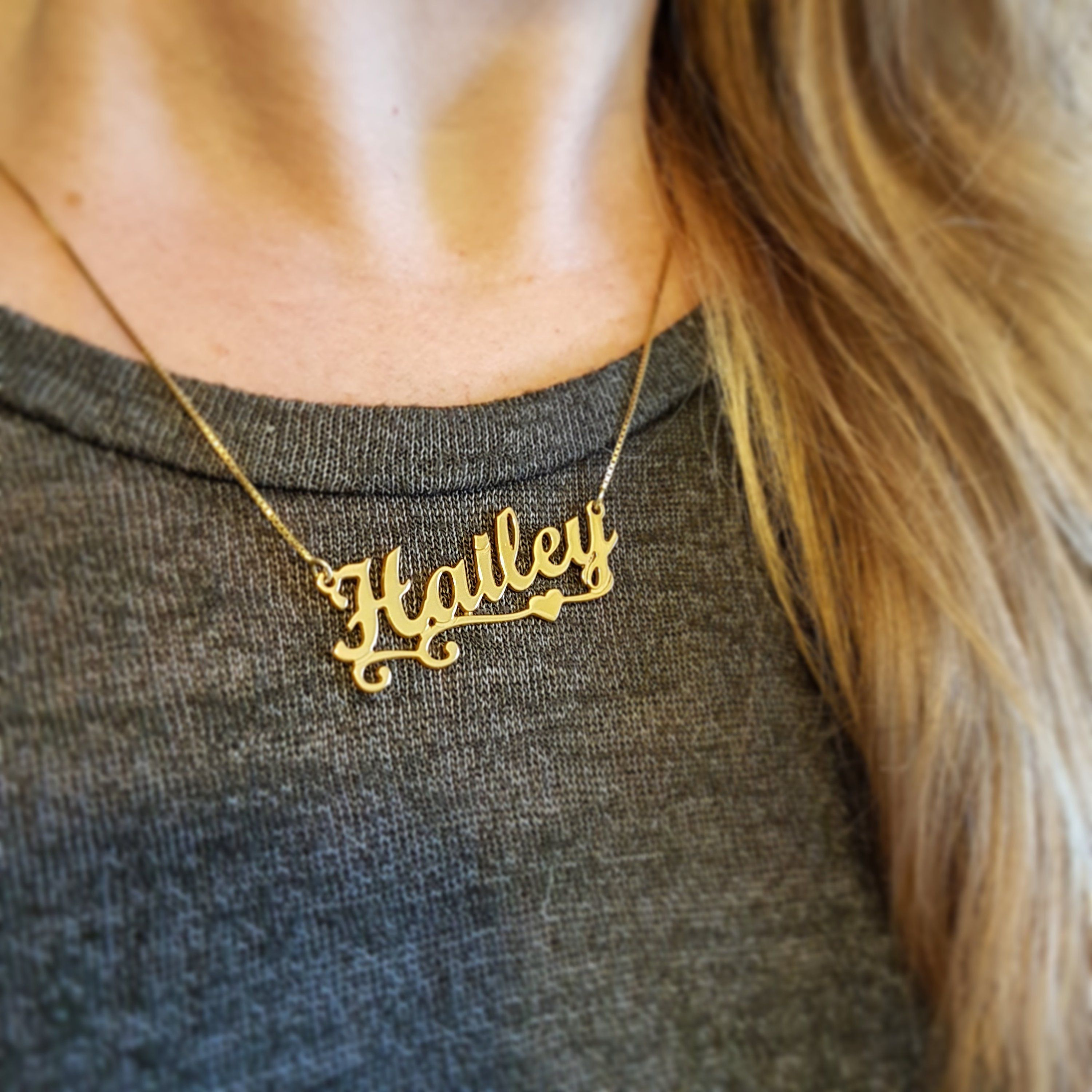 Gold Plated Name Plate Necklace Hailey Name Pendant Name Chain Evil Eye Necklace Gold Evil Eye Necklace Good Luck Necklace