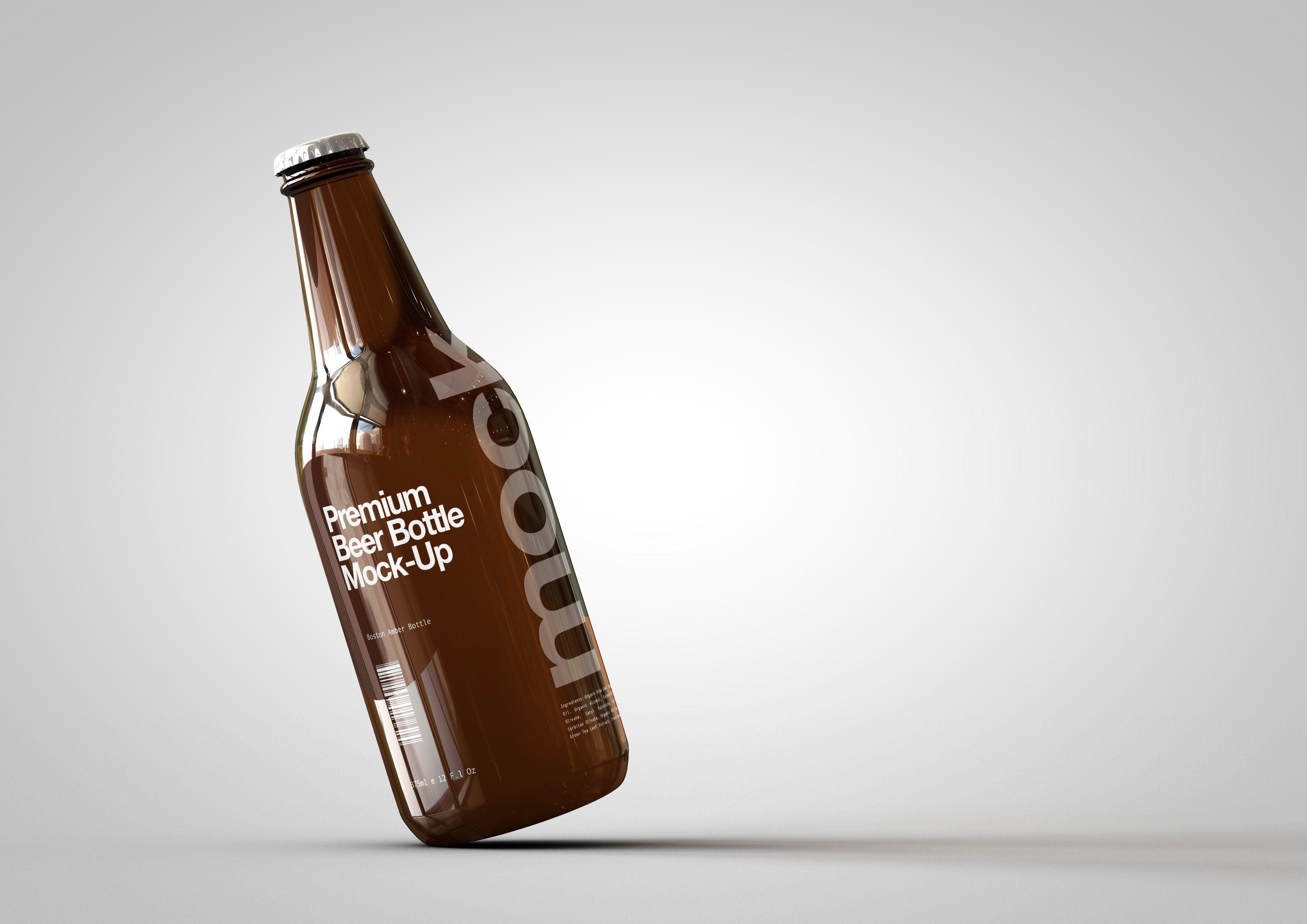 Download Amber Glass Beer Bottle Mock-Up   Beer bottle design, Beer ... Free Mockups