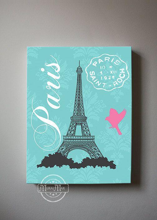 Eiffel Tower Canvas Art Paris Bedroom Decor Girls Room By MuralMAX
