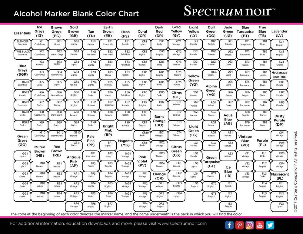 Free printable spectrum noir color charts cards to make spectrum