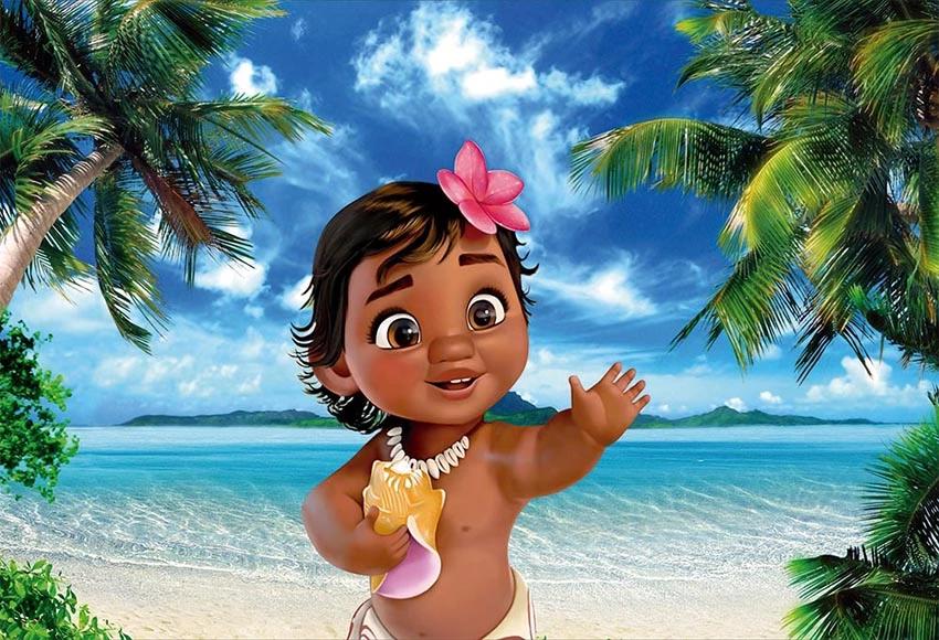 Baby Moana Summer Beach Backdrop For Princess Birthday Baby Shower Lv 102 Beach Backdrop Moana Backdrop Moana Birthday Party
