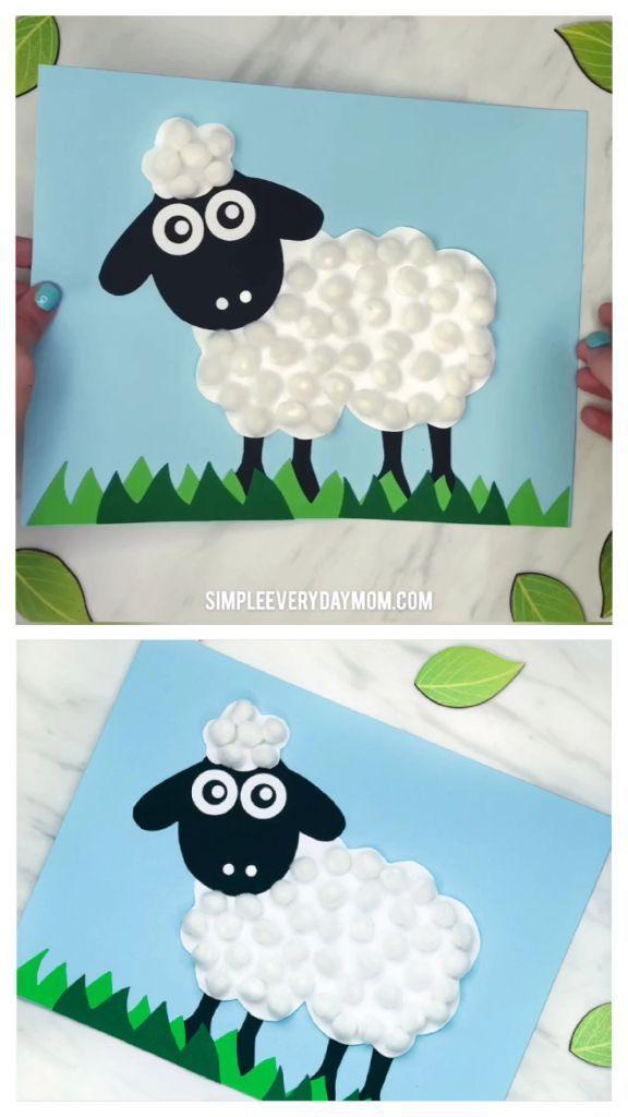 Machen Sie diese einfache Pom Pom Sheep Craft für Kinder