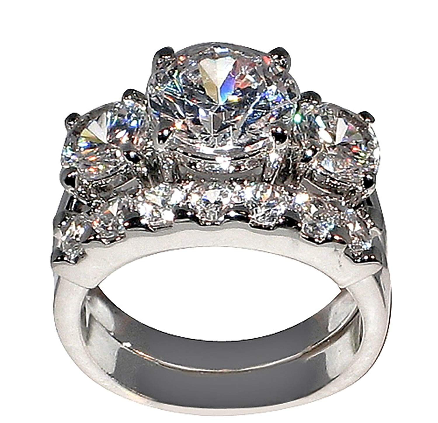 5 Ct Bold Past Present And Future Style Cubic Zirconia Cz Bridal Round Shaped Center Stone Wedding Ring Sets Round Wedding Rings Engagement Wedding Ring Sets