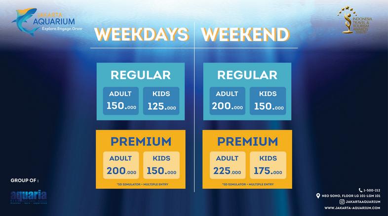 Macam-macam harga tiket masuk Jakarta Aquarium 2019 hari biasa dan hari libur.