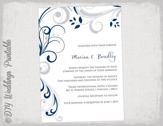 Printable Wedding Invitation Templates Silver Gray And Navy Blue Scroll