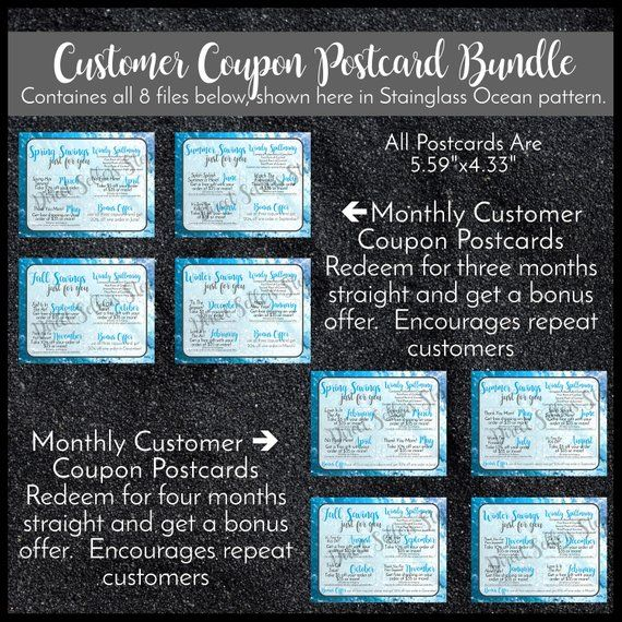 Customer Coupon Postcard Bundle Personalized in Stainglass