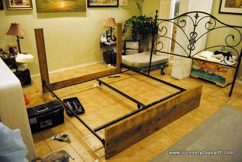 frugal upholstered headboard diy also concealing a metal bed frame