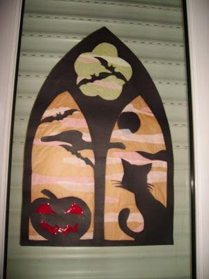 Vidriera casera ventana Halloween
