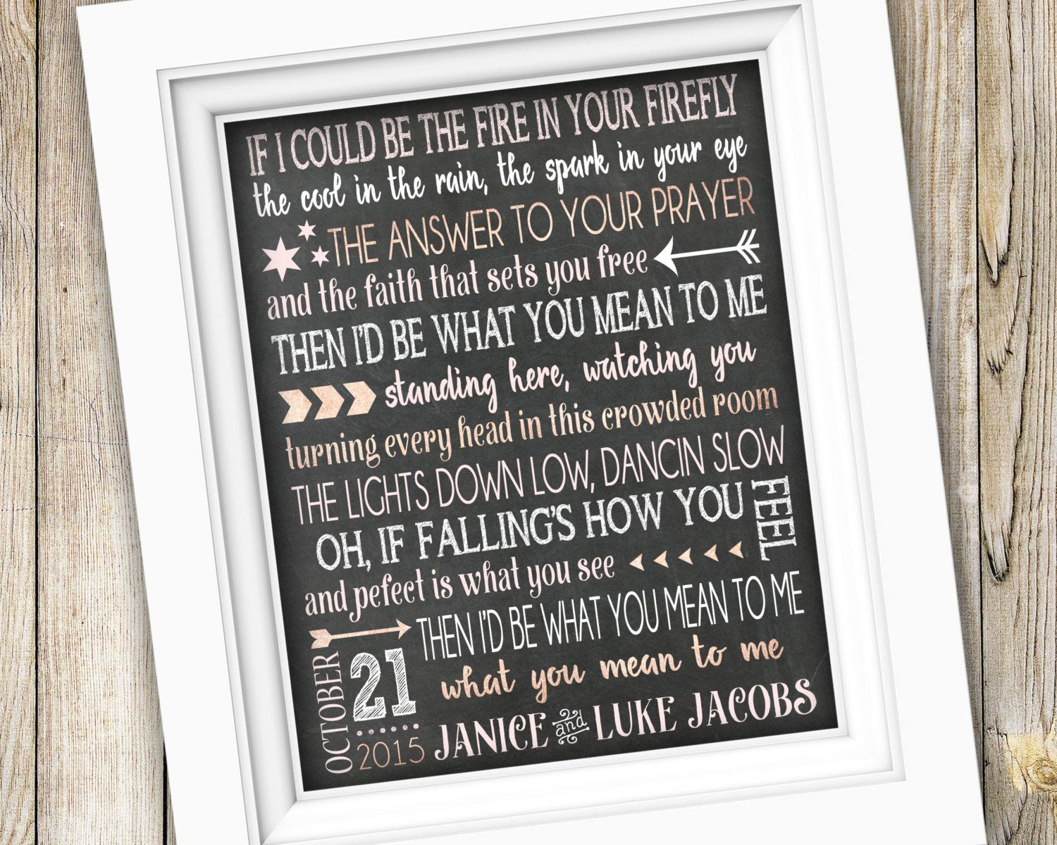 Wedding song lyric art printable anniversary gift wedding gift