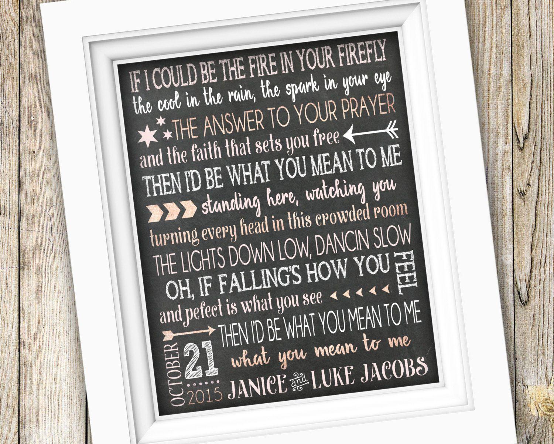 Wedding Song Lyric Art Printable Anniversary Gift