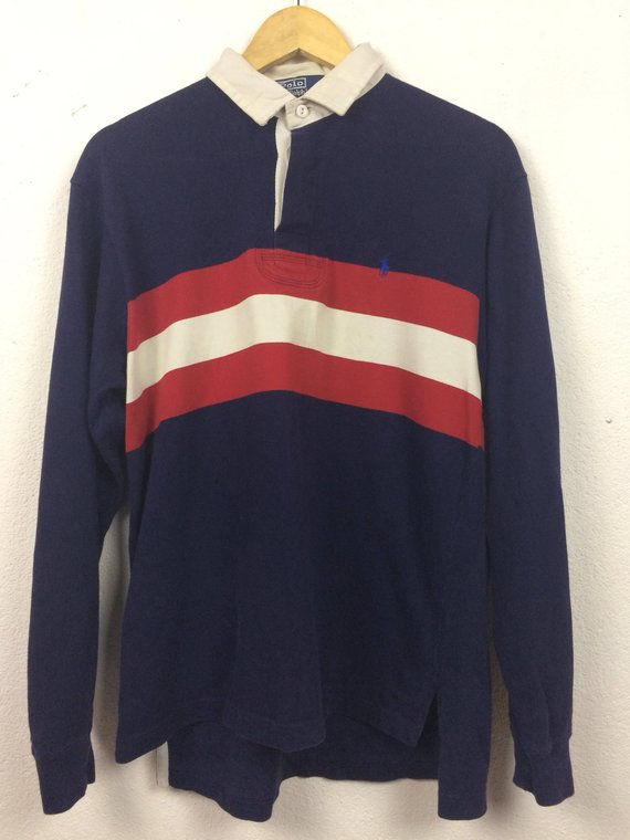 066ac1bfe24 Vintage 90s Ralph Lauren Long Sleeve Polo Shirt Striped Size S in ...