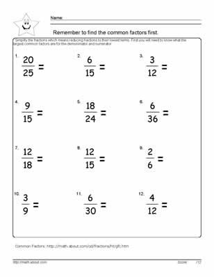 Free Printable Worksheets On Fractions For 6th Grade