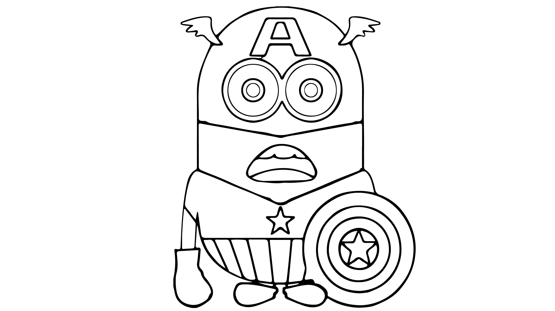 Kaptan Amerika Minion Cizip Boyama Cocuklar Icin Boyama Videolari Boyama Oyunlari Boyama Kitaplari Oyun Amerika