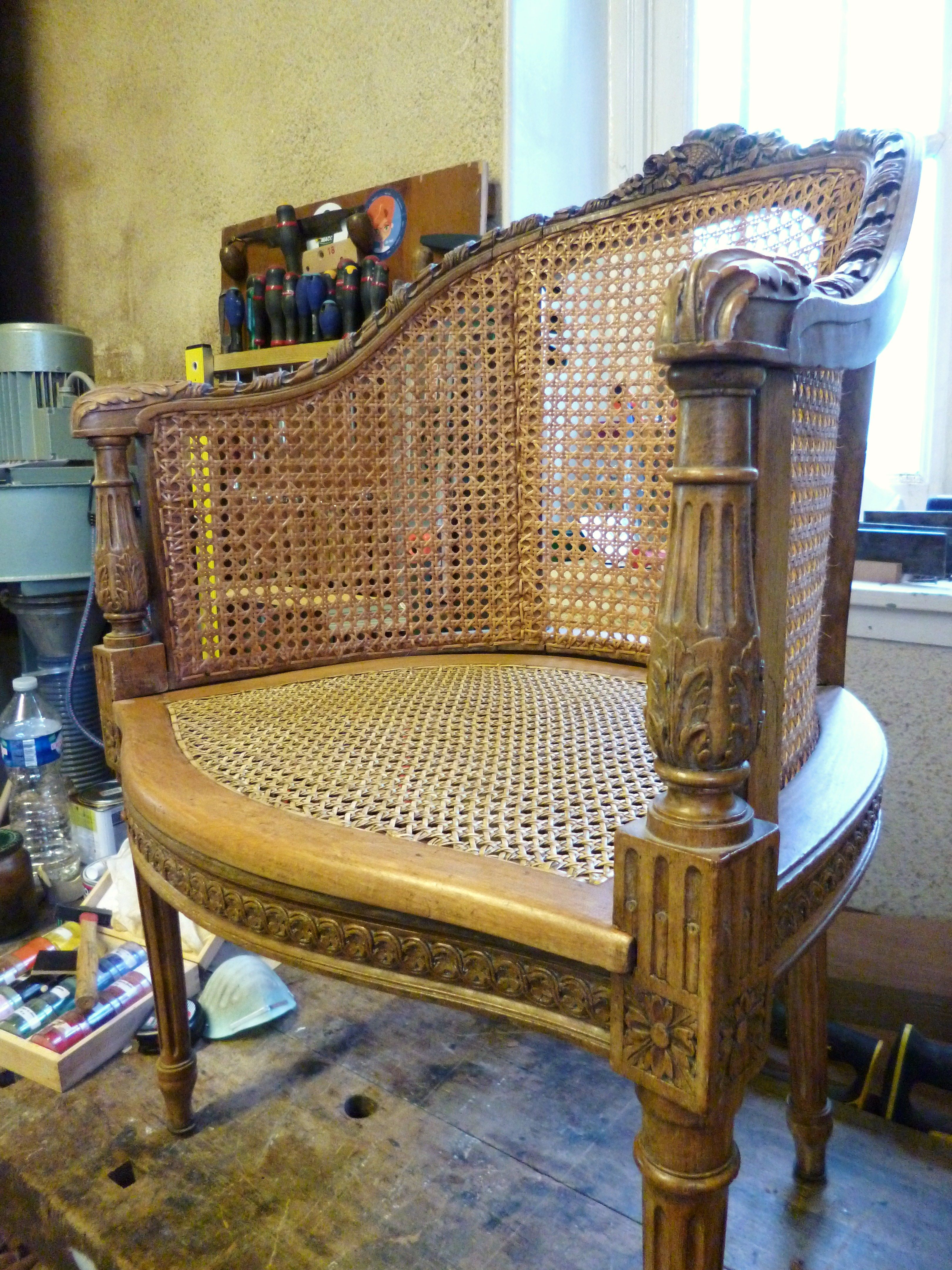 cannage français à 6 brins, fauteuil canné XVIIIème siècle