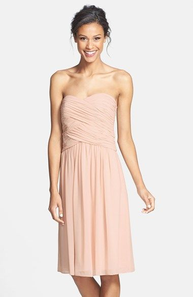 Donna Morgan Anne Strapless Chiffon Fit Flare Dress Available At Nordstrom In Gulfstream Or Navy Bridesmaid 3
