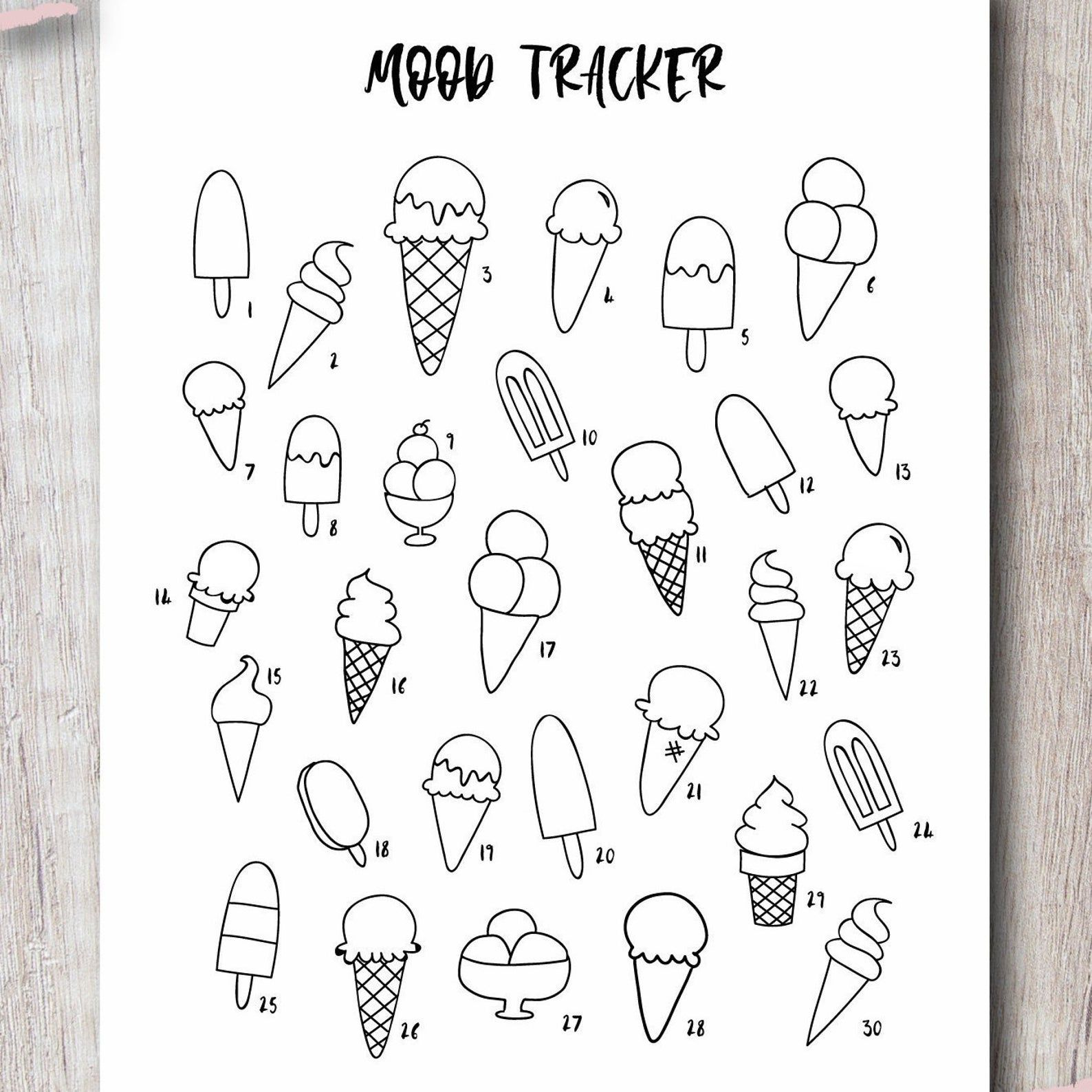Mood Tracker Printable Bullet Journal Insert - Ice Cream Template   Instant Download PDF   Letter & A5 Size