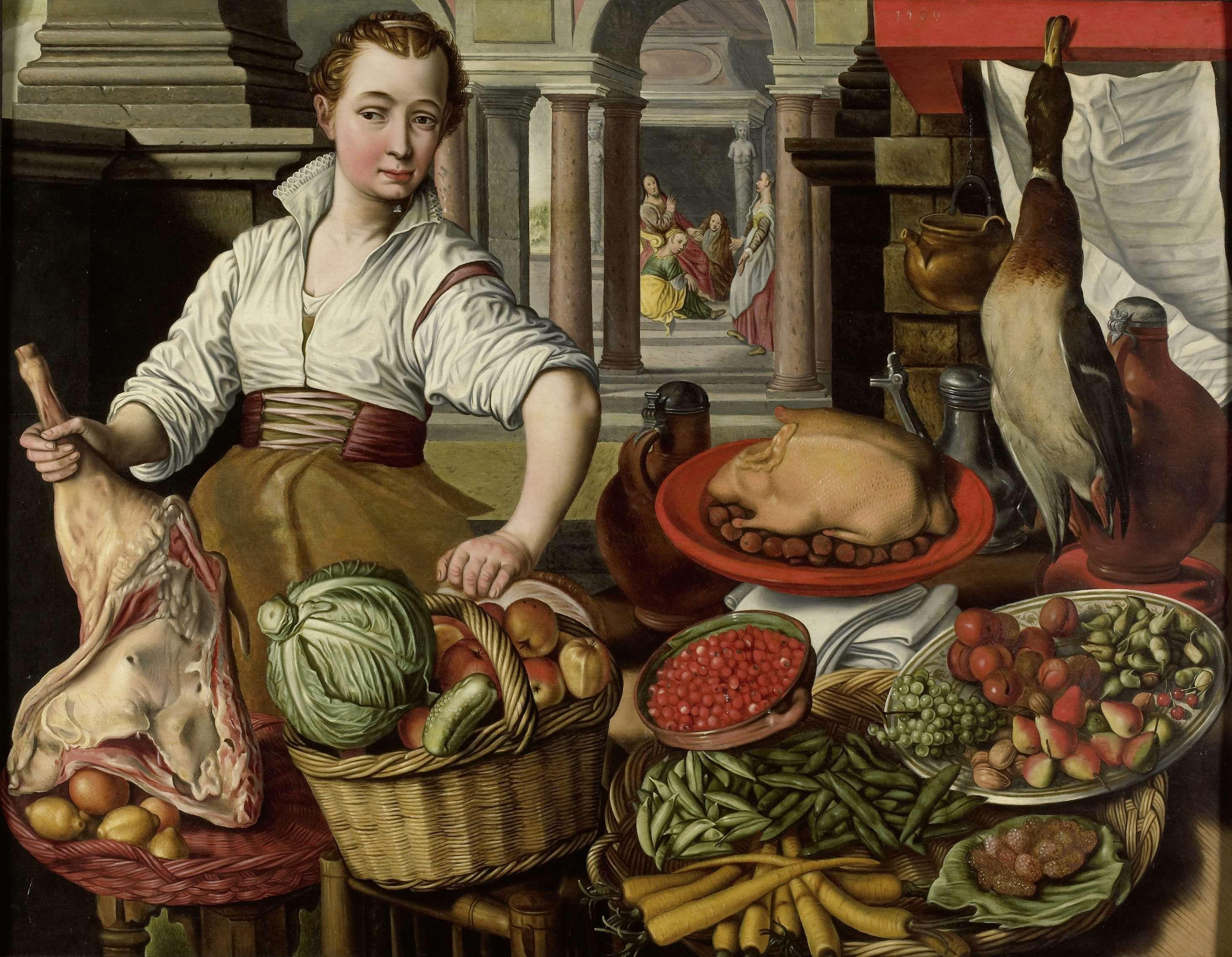 Keukenstuk, met op de achtergrond jezus bij martha en maria, kopie ...